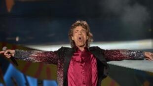 El líder de los  Rolling Stones, Mick Jagger, en el escenario del estadio Ciudad Deportiva el 25 de marzo del  2016 en la Habana, en el primer concierto del grupo británico en Cuba.