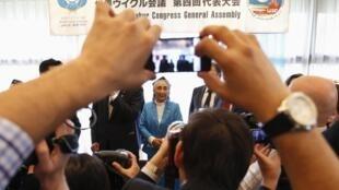 热比亚·卡迪尔2012年5月14日在东京召开的第四届世界维吾尔大会开幕式上。