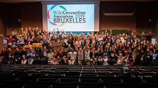 La photo du groupe de la WikiConvention Franchophone 2019.