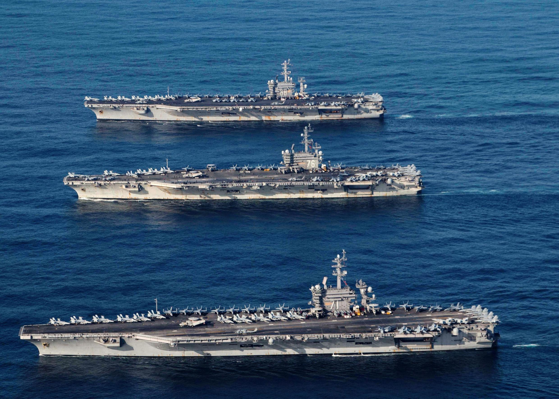 Ba tầu sân bay của Mỹ USS Ronald Reagan, USS Theodore Roosevelt và USS Nimitz ở Thái Bình Dương. Ảnh chụp ngày 12/11/2017.