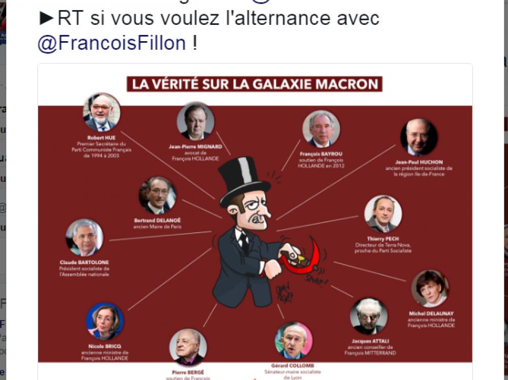 Detalle de la caricatura de Emmanuel Macron publicada en la cuenta del partido Les Républicains.