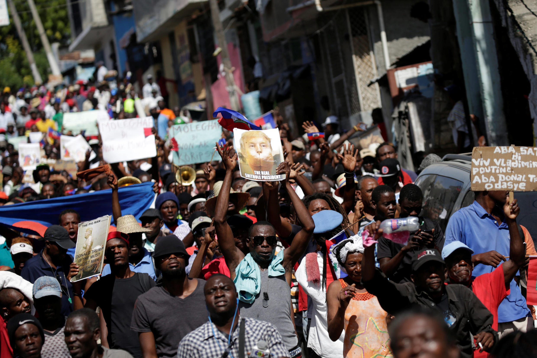 Une manifestation à Port-au-Prince, le 22 janvier 2018.
