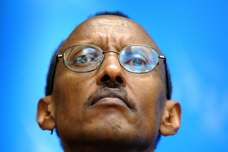 Paul Kagame, raiw wa Rwanda, katika mkutano na waandishi wa habari Novemba 2008 huko Geneva.