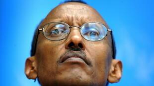 Paul Kagame, président du Rwanda, lors d'une conférence de presse en novembre 2008 à Genève.