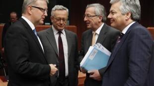 Ministros das Finanças da União Europeia reunidos em Bruxelas.