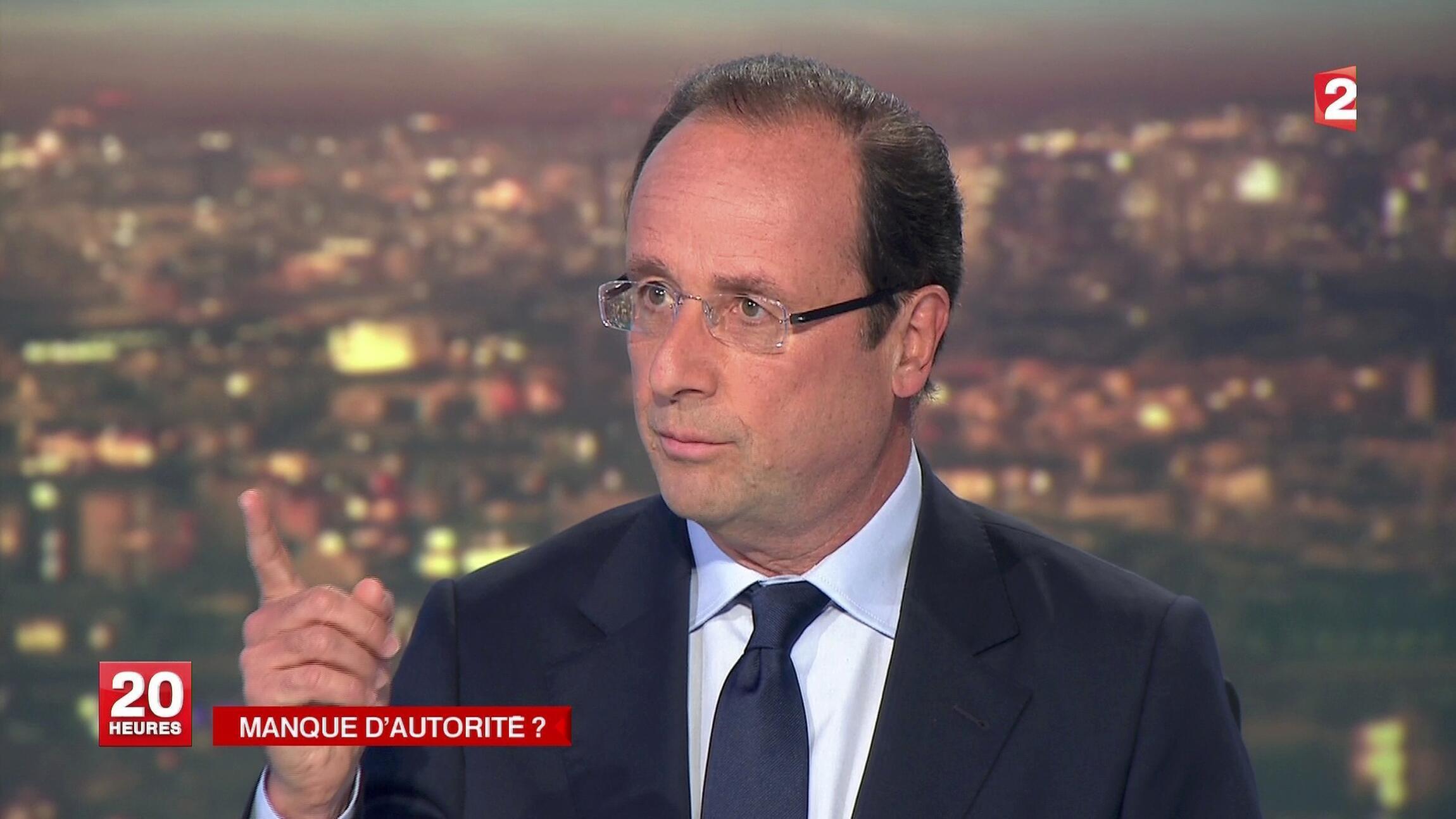 François Hollande durante entrevista no telejornal do canal France 2.