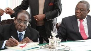 Le président Robert Mugabe et son Premier ministre Morgan Tsvangirai