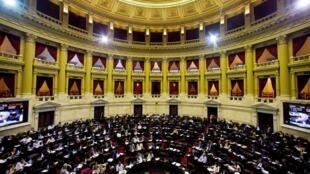 Congreso argentino durante el debate para pagar a los acreedores