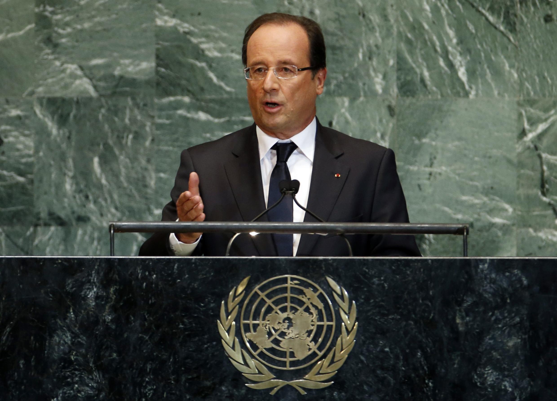 Rais wa Ufaransa François Hollande mbele ya Mkutano mkuu wa Umoja wa Mataifa, Septemba 25, 2012.