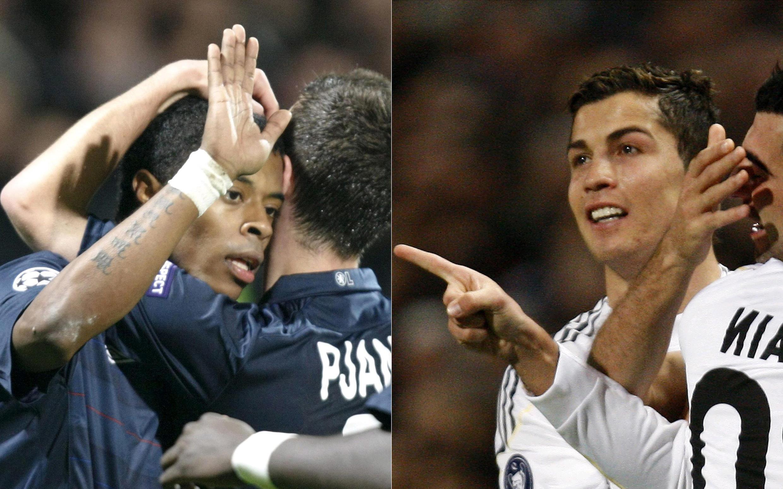 Le Lyonnais Michel Bastos (g.) et le Madrilène Cristiano Ronaldo (d.).