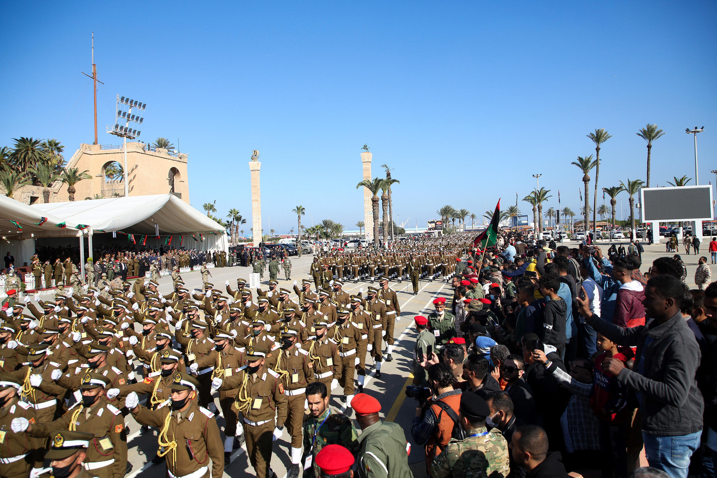 Libyan troops take part in a parade in Tripoli to mark the anniversary of independence on December 24, 2020 amid a fragile ceasefire in the country