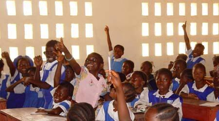 Second grade schoolgirls in Sierra Leone