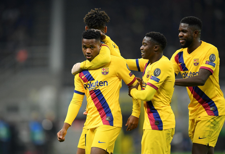 'Yan wasan Barcelona sun taya Ansu Fati murnar jefa kwallo a ragar Inter Milan