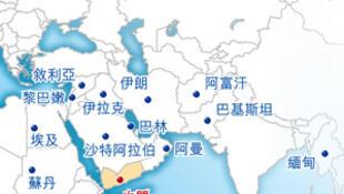图为也门周边国家地图