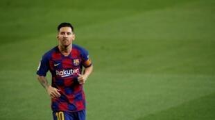 Lionel Messi, l'attaquant argentin du FC Barcelone, le 8 juillet 2020.
