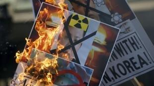 首尔发生抗议朝鲜核试验的示威活动