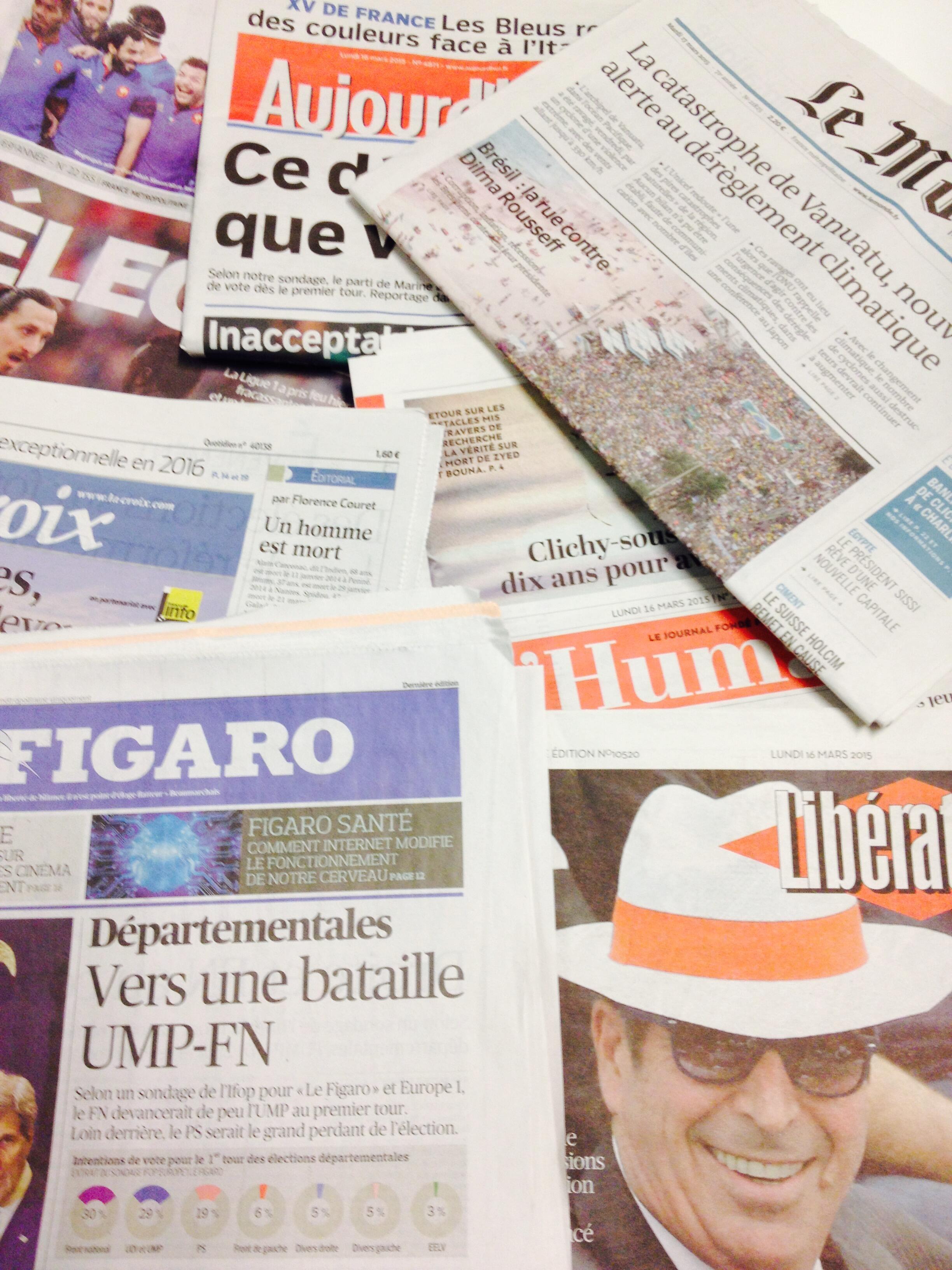 Primeiras páginas dos diários franceses de 16/03/2015