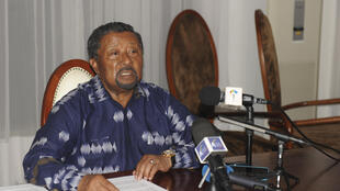 Jean Ping at a press conference on Friday