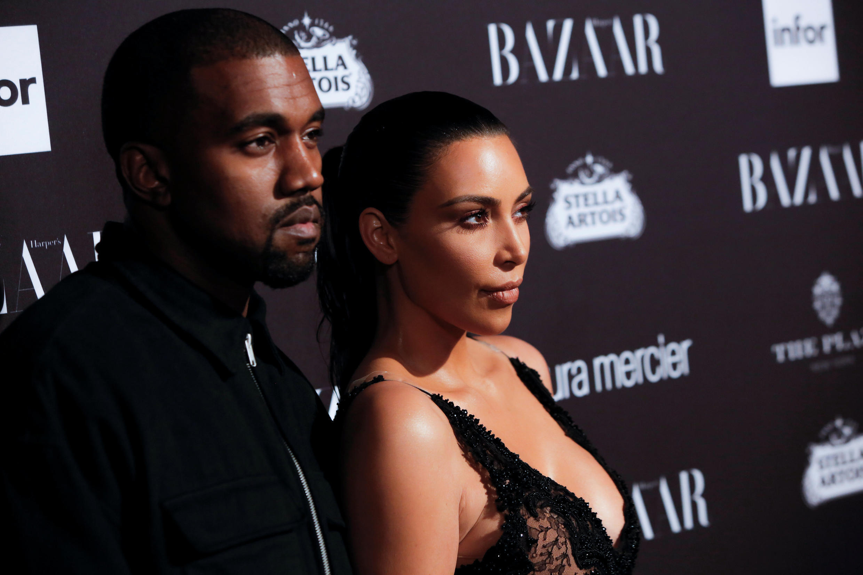 Kim Kardashian and Kayne West at Fashion Week in New York, in 2016.