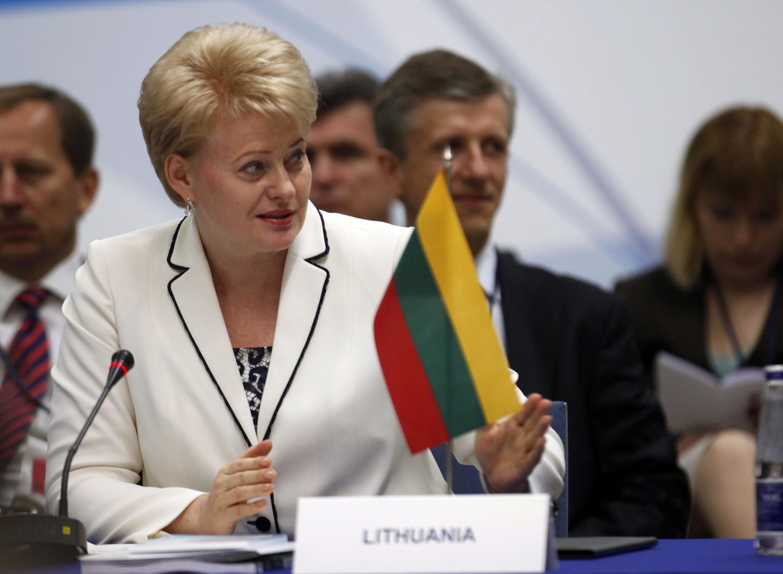 Президент Литвы Даля Грибаускайте на Балтийском форуме развития в Вильнюсе 2 июня 2010