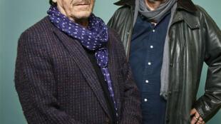 Portraits des écrivains Jean-Bernard Pouy et Patrick Raynal, à l'occasion de la sortie de leur roman «Lord Gwynplaine», paru aux éditions Albin Michel.