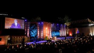 """O primeiro-ministro de Israel, Benjamin Netanyahu, fala durante a cerimônia de abertura do """"Dia da Lembrança do Holocausto"""" em Israel, no Centro do Memórial do Holocausto Yad Vashem, em Jerusalém, em 11 de abril de 2018."""