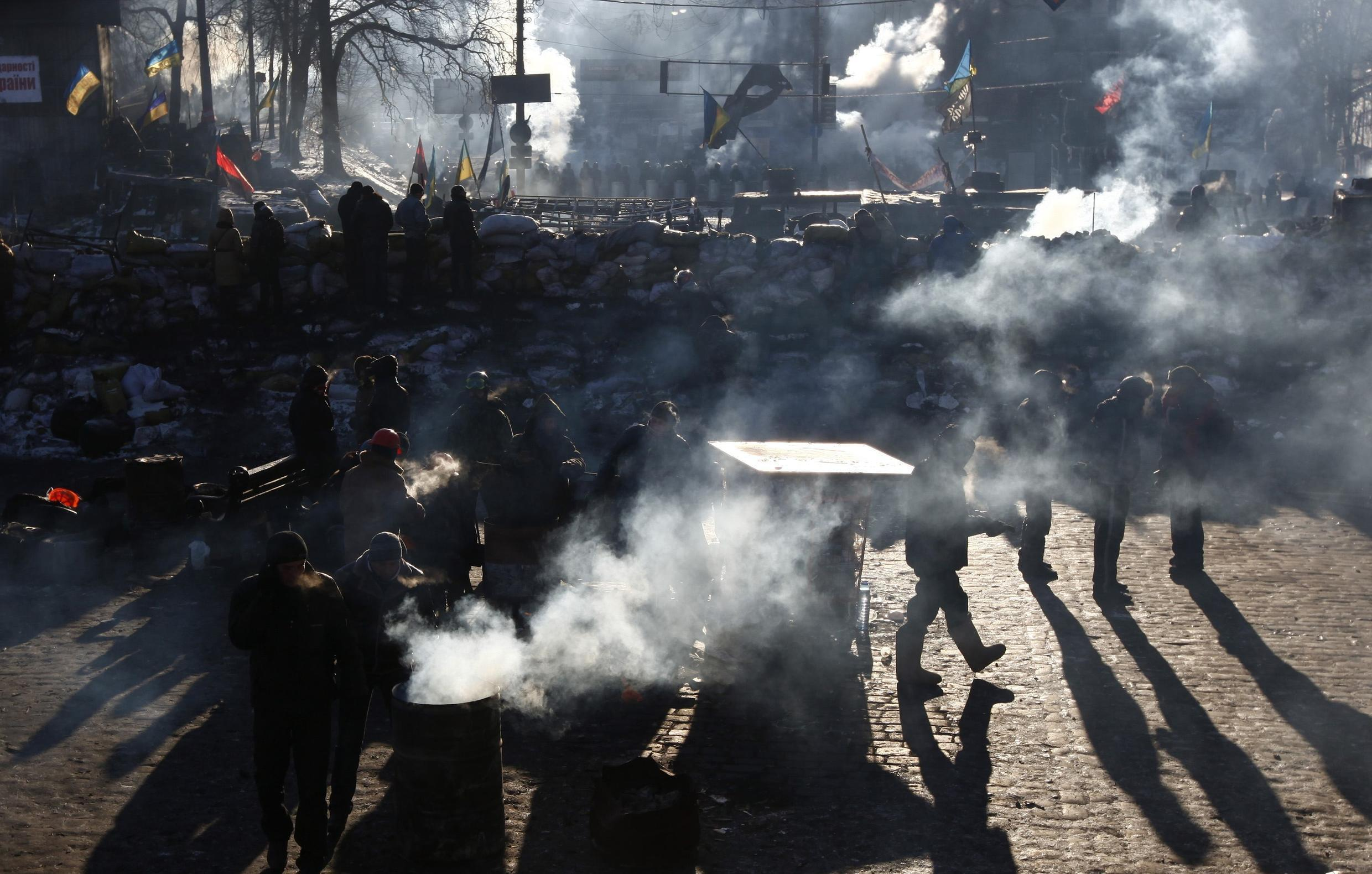 Anti-government protesters are seen near a barricade, as temperatures stand at minus 20 degrees Celsius in Kiev, 31January 2014