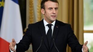 Le président français Emmanuel Macron après son entrevue après le secrétaire général de l'Otan Jens Stoltenberg, le 28 novembre 2019 à l'Elysée.