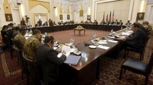 Делегации Афганистана, Пакистана, США и Китая на переговорах в Кабуле, 23 февраля 2016 г.