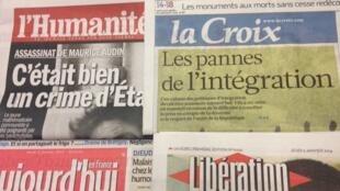 Primeiras páginas diários franceses 9/1/2014