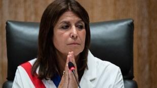 Michèle Rubirola, maire de Marseille nouvellement élue après avoir reçu l'écharpe tricolore lors d'un conseil municipal, le 4 juillet 2020, à Marseille.