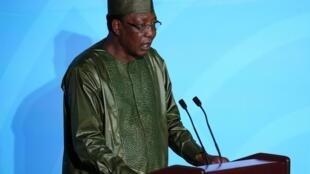 Idriss Déby, le président du Tchad, s'exprime à la tribune du sommet climat des Nations unies, le 23 septembre 2019.