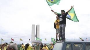 Manifestação a favor de Bolsonaro na Esplanada dos Ministérios, em Brasília. 21 de outubro de 2018