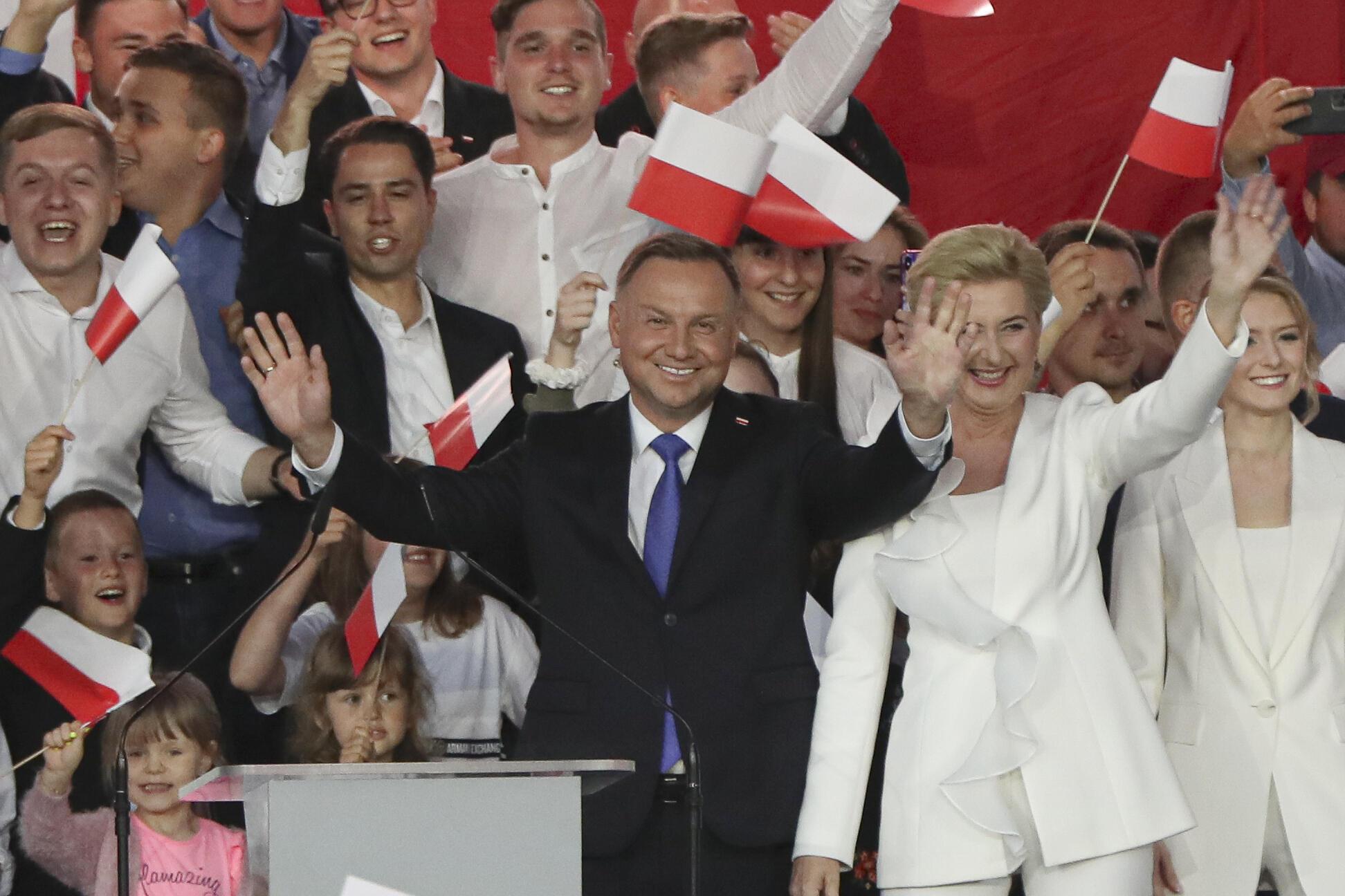 Le chef de l'État polonais, Andrzej Duda, au soir de l'élection présidentielle, le 12 juillet 2020.