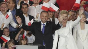 Le président polonais Andrzej Duda au soir des élections présidentielles le 12 juillet 2020.