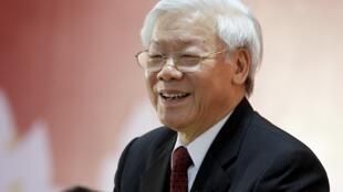 Tổng bí thư đảng Cộng sản Việt Nam Nguyễn Phú Trọng tại Đại hội Đảng lần thứ 12, Hà Nội, ngày 28/01/2016.