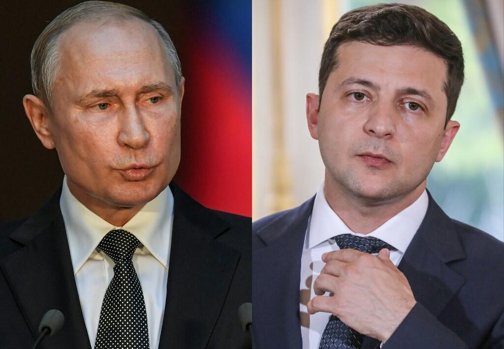 Ảnh ghép: tổng thống Nga Vladimir Putin (T) và đồng nhiệm Ukraina Volodymyr Zelensky