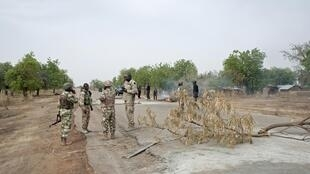 Members of the Nigerian Army in Damboa, Borno State in northern Nigeria