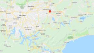 Mapa de donde ocurrió en el incidente, en el área metropolitana de Sao Paulo.