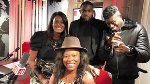 Isabelle Maya, humoriste ; Sacko Camara, humoriste ; SagaLove, humoriste ; Diara Ndiaye (à gauche).