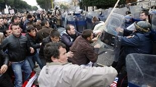 Xung đột với cảnh sát tại Tirana, ngày 21/01/11