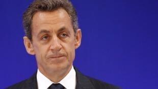 Le président Nicolas Sarkozy le 26 septembre 2011 à l'université de Paris-Assas où il est venu prononcer un discours sur la réforme de l'université.