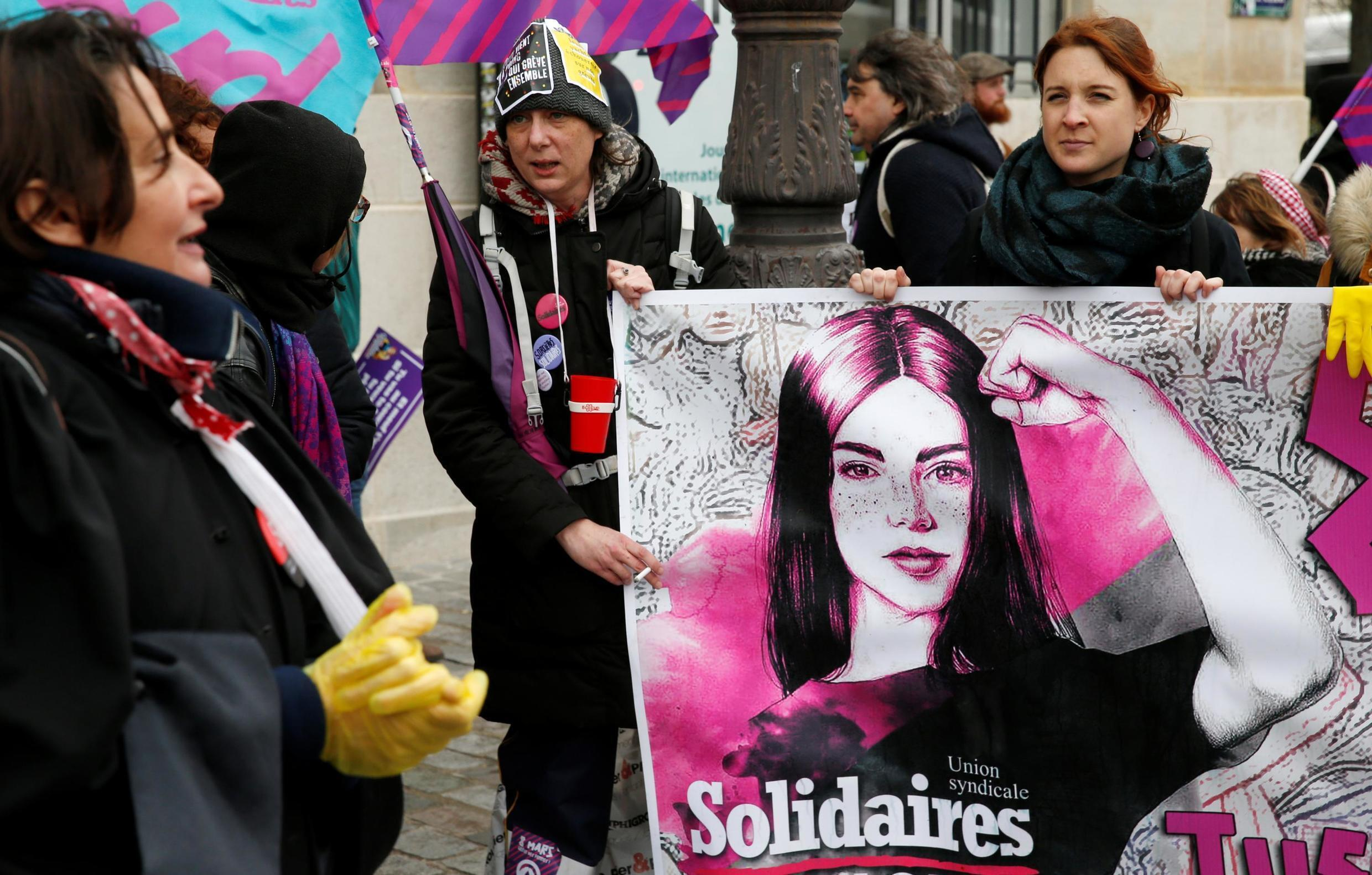 Demonstrators at the start of the march in Paris for equality on Internatoinal Women's Day, 8 March 2020.