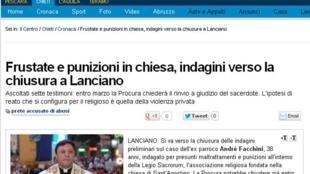 Site do jornal italiano Il Centro com a reportagem relatando o avanço da investigação sobre o padre brasileiro André Facchini em Lanciano, no centro da Itália.