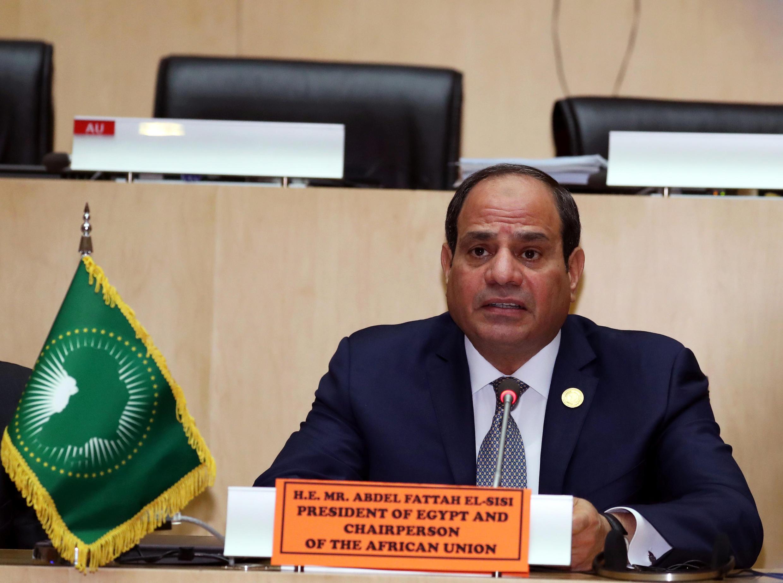 Le nouveau président en exercice de l'Union africaine, le chef d'Etat égyptien Abdel Fatta el-Sissi, le 11 février 2019, à Addis-Abeba, Ethiopie.
