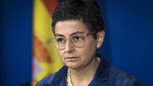 La ministra de Asuntos Exteriores española, Arancha Gónzalez Laya, durante una rueda de prensa que dio el 24 de enero de 2020 en Rabat