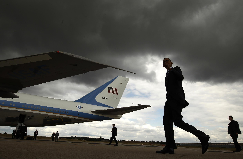 Barack Obama durante sua passagem pela França.