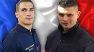 Simon Cartannaz and Nathanaël Josselin who died in the line of duty following an explosion in Paris' 9th district on January 12