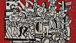 «La Grande Parade sur fond rouge» (1953), Fernand Léger, mosaïque, Melbourne, National Gallery of Victoria.