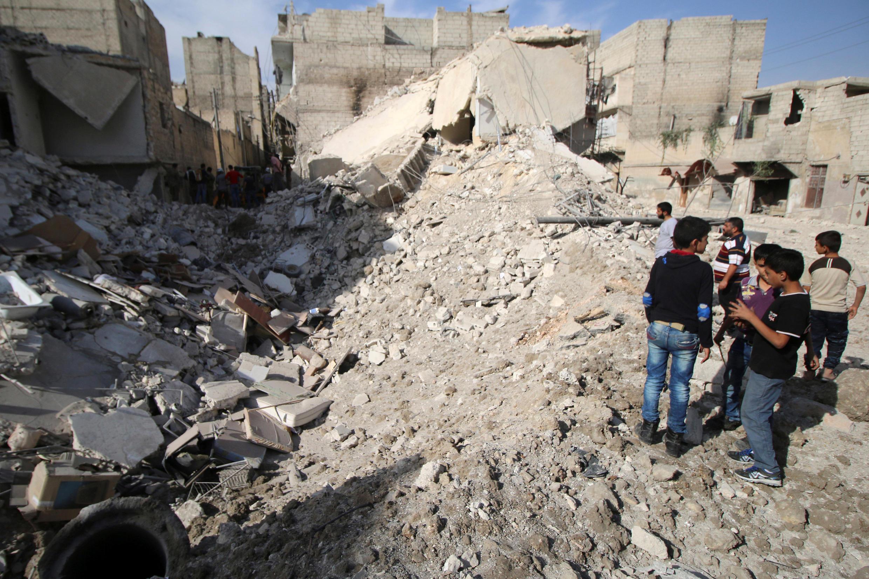 Le quartier rebelle Karam Houmid à Alep, ce mardi 4 octobre 2016, après les raids aériens.